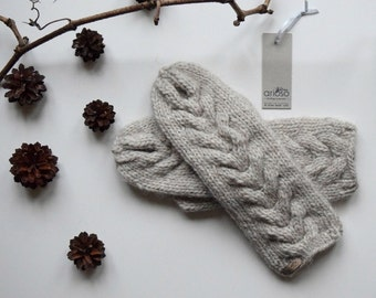 Cable Knit Mittens, Wool Mittens, Double MITTENS, cream Knit Mittens
