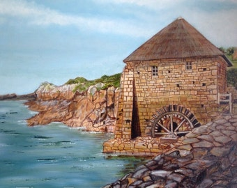 Watermill, isle of Brehat Brittany France. Moulin ile de Brehat, Bretagne, original oil painting.