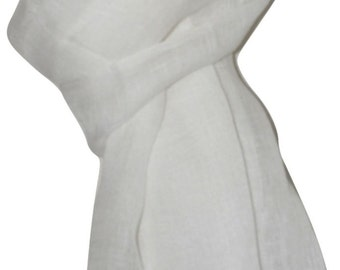 100% Hand spun, Handwoven Pure Linen Fabric Scarf/Wrap_IVORY .X1039  USPS 2 day.