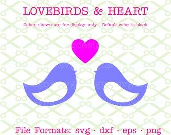 Lovebirds SVG, Dxf, Eps & Png. Birds Svg, Digital Cut Files for Cricut, Silhouette; Bird Silhouette, Heart Svg, Folkart Love Birds Svg