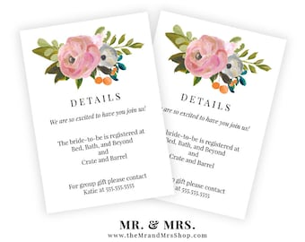 Editable Floral Details Insert Card, Information Card, Registry Card, Invitation Insert, Printable, Template, PDF, Instant Download, MAM104