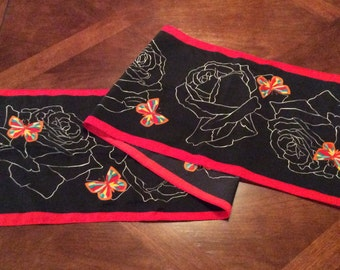 Black-red-neck scarf-white roses-multi colored butterflies-polyester-machine stitched hem-spring-clothing-womens-accessories