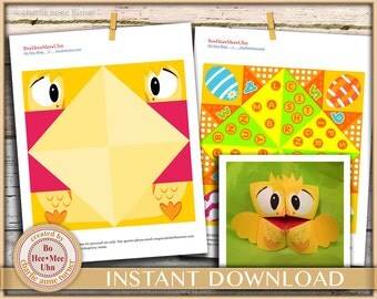 Easy DIY Easter chick kids craft project. Cootie catchers. Fortune tellers. Easter quiz activity. Instant  digital instant download.