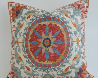 SALE - Embroidered suzani pillow cover, designer pillow, embroidery pillow, suzani embroidery, suzani cushion, silk pillow, cushion cover