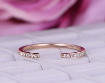Full eternity matching band in 14k rose gold/Open gap 5mm wedding ring/Round cut bridal diamond ring/Pave set anniversay ring/Stackable ring