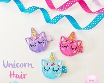 Unicorn feltie hair clip. Fringe clip for babies, toddlers, girls.