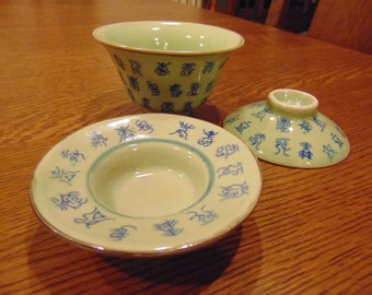 Vintage Hand Painted Rice Bowl Set in Green & Blue (free shipping.