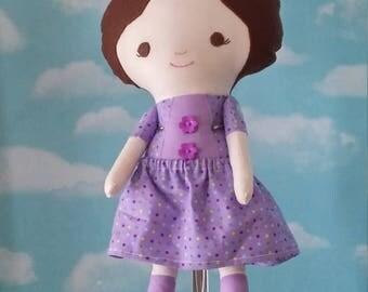 Miss Tippytoes Doll- Brunette Purple Dress