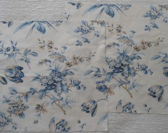 Exclusive KRAVET Blue, Off-white and Tan Floral print fabric suitable for pillow shams