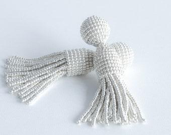 "Silver color beaded short tassel clip on earrings, Oscar De La Renta style, handmade, 3"", metallic color, enlarged top"
