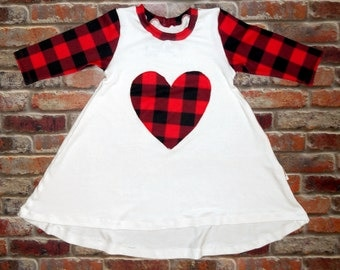 Red Buffalo Plaid Heart Hi Lo Half Sleeve Valentine's Day Girl Toddler Baby Outfit Dress Trendy Grunge Hipster