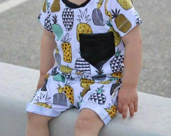 Modern Pineapple Harem Shorts Romper Faux leather Pocket Toddler Baby Boy Girl Trendy Summer Birthday Take Home Outfit