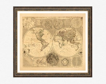 General Map of the World, map prints, map poster, vintage map, map on photo paper, map poster prints, old maps, vintage world map