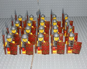 20 minifigures Roman soldiers with shield and spear, LEGO, custom, Romans, new