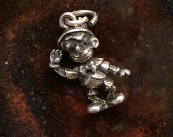 Vintage 1940's sterling silver  Pinocchio disney charm necklace pendant or keychain charm