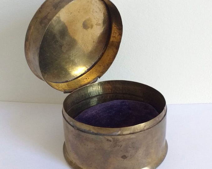 Vintage brass box, possibly trench art from a brass shell casing, jewelry box, trinket box, round watch case, watch box, cufflink box