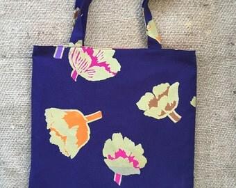 Stunning Vintage Marimekko ~ Suitsuke~ Fabric Shoulder Bag Tote Navy Blue Metallic Gold Florals