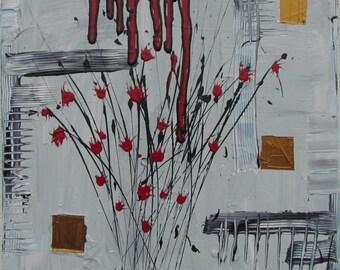 Original MisQue art | Abstract acrylic painting bouquet 50 x 50 cm