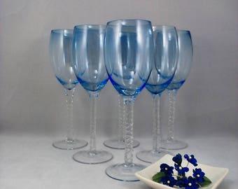 Wine Glasses Hand Blown Light Sapphire Blue Set of 6
