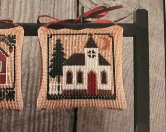 Vintage The Prairie Schooler counted cross stitch Holiday Homestead pattern Book No 14