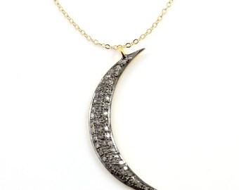 Pave Diamond Crescent Moon Diamond Pendant-Diamond Moon Charm,Pave Necklace-Neck-2