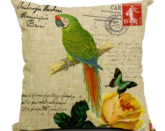 European Stamp Series Bird Print Decorative Pillow Cover - Military Macaw