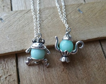 Aquamarine Gemstone Necklace - Frog Necklace, Teapot Necklace, Charm Necklace, Girly Necklace, Unique Gift for Her, Healing Stone Necklace