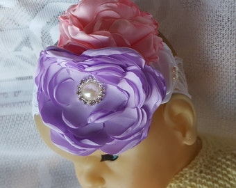 Purple Pink White Flower Headband, Lace Hair Band, Headwear For Baby Girl, Toddler Baby Show Photo prop