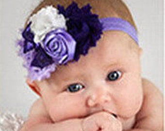 Purple & Ivory Sequin Bow Headband, Flower Headband, Baby Headband, Newborn Headband,Infant Headband,Hair Accessories , Flower Girl Headband