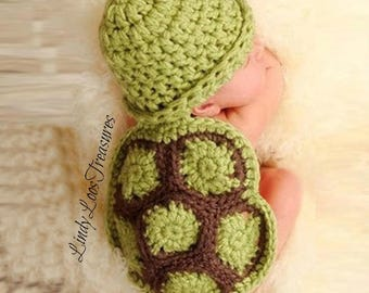 Cute Newborn Baby Turtle Knit Crochet Set, Clothes, Beanie Hat Outfit, Photo Props, Gift, Baby Clothing, Photo Prop, Newborn Photo Prop