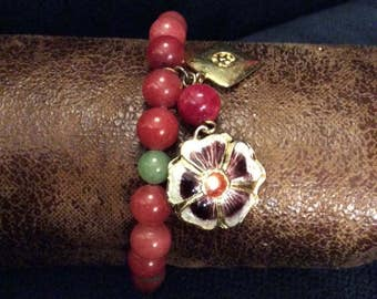 Green and Red Jade Bracelet with Enameled and Plain Charms