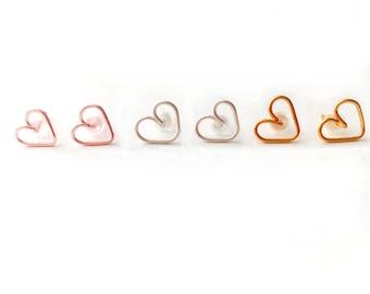 Small Heart Studs, Heart Earrings, Simple Everyday Studs, Post Earrings, Earrings Set, Bridesmaid Gift, Friendship Earrings, Gift For Her