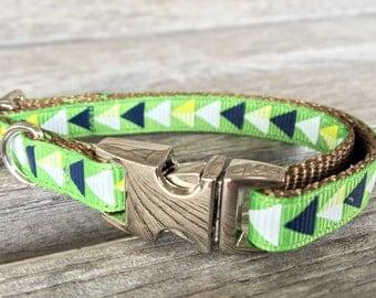 Green Geometric Teacup Dog Collar, Toy Breed Triangle Dog Collar, Green and Blue Dog Collar, Small Dog Collar, Mini Dog Collar