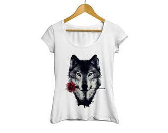 Wolf with Rose Brand New Ladies Fitted T-Shirt Unique Gift