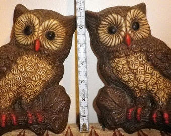 CLEARANCE SALE!!  Adorable Vintage Homco Owl Foam Plaques Pair