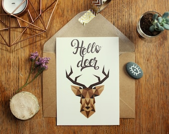 "Card mailing A6 ""Hello deer"", deer, origami, geometry and typography"