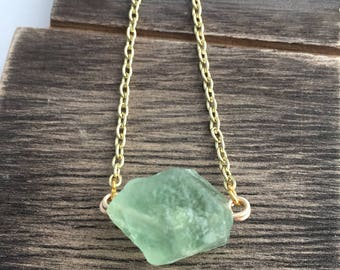 Green Fluorite Stone Necklace - Raw Crystal Necklace - Layering Jewelry - Fluorite Pendant - Gemstone Jewelry - Minimalist Necklace