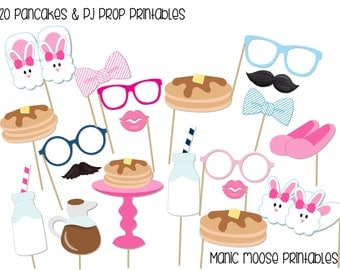 Printable Pancakes and Pajamas Photo Booth Props ~ 20 Pajamas and Pancakes Party Props