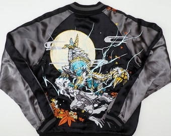 SUPER RARE Japanese Monster Hunter DMM Anime Autumn Leaves Moonlight Collaboration Embroidery Embroidered Souvenir Sukajan Jacket Sk1891