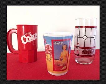 Coca Cola Drinkware Variety Trio-Plastic Coke Mug, Ceramic Mug and Windowpane Tubmler