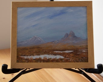 "Original Framed Oil Painting of Suilven and Canisp, Scottish Highlands Size is 10"" x 8"" oil on canvas board- ready to hang."