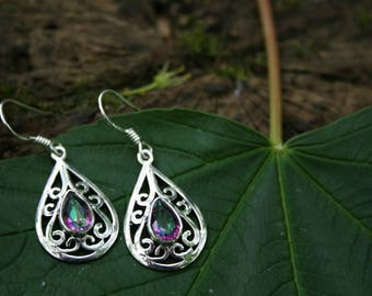 Celtic Style Earrings With Mystic Topaz