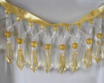 Yellow beaded fringe, beaded trim, lampshade trim,upholstery trim,drapery trim
