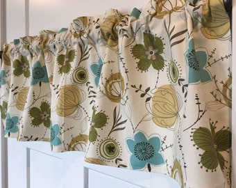 "Flower Print cream with Lime Green, Aqua Blue, Mustard Yellow, Tan, Brown 42"" Twill Valance Curtain"