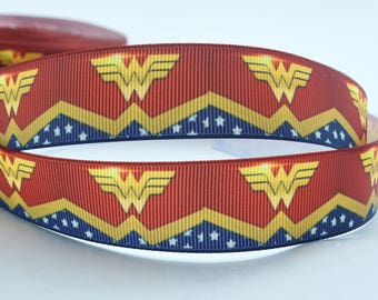 "Wonder Woman Comic Book Super Hero Inspired Printed Grosgrain Ribbon 1"" Wide"