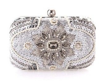 Luxury Evening Bag Sequined Diamond Beading Bridal Wedding Clutch Crossbody Chain BA5008i