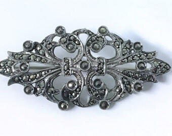 A Beautiful Art Deco Sterling Silver and Marcasite Brooch