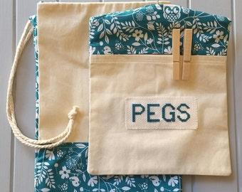 Peg Bag and Laundry Bag Set - Teal Owls