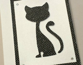 Hand-Cut Cat Any Occasion Card / Note Card / Black Cat Card / Unique / Animal Cards / Sparkly Card / Black and White / Stationery / Dots