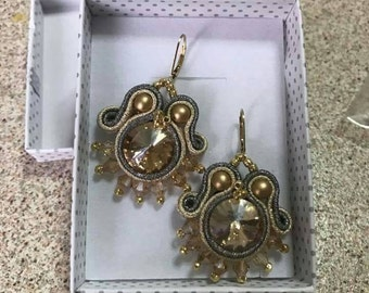 Soutache earrings gold and silver